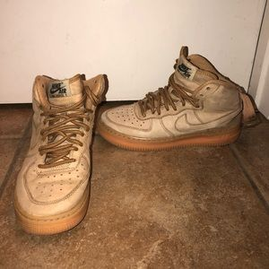 Nike Air Force 1 Tan Boys Size 4Y